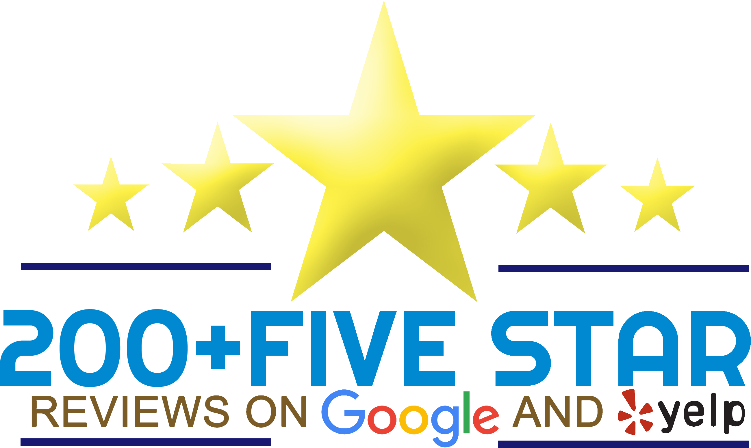 Over 200 five star reviews on Google